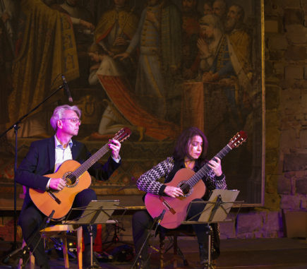 Thomas Kirchhoff and his wife Dale Kavanagh playing music together